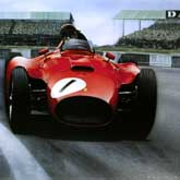 Juan Manuel Fangio (1911-1995) at Silverstone in 1956, driving the Lancia-Ferrari