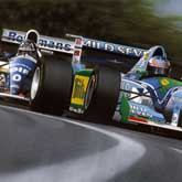 Damon Hill attempts to overtake Michael Schumacher at the title-deciding Adelaide GP in 1994
