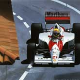 Senna tackles La Rasscasse corner and qualifies on pole at the 1990 Monaco GP. He won the race en route to his second Drivers Championship. McLaren Honda MP4/5B.