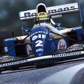 Ayrton Senna driving in his 162nd and final Grand Prix on 1st May 1994. Williams Renault FS16 V10.