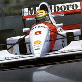 Ayrton Senna wins his 41st and final Grand Prix during the Australian GP in Adelaide, 1993. Driving in the McLaren (Ford HBE7 V8) MP4/8